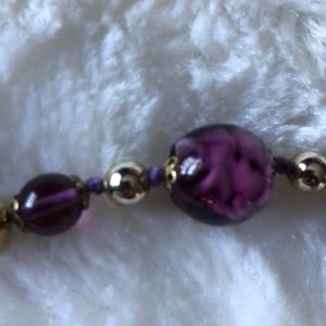 Purple and Gold Bead Necklace